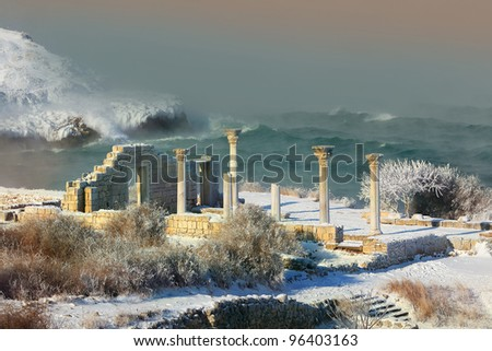 Winter storm off the coast of the ancient city hersonessa