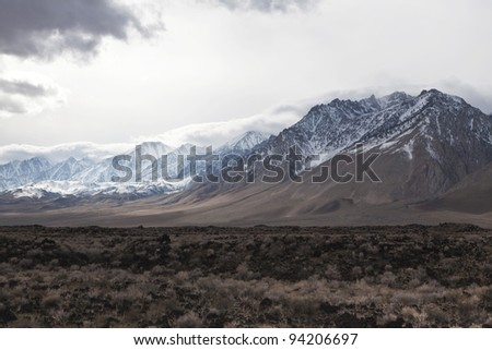 Winter storm over Sierra Nevada mountains in eastern California