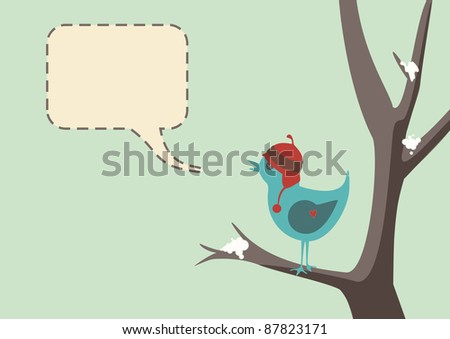 Winter style vector of a cute bird wearing a hat, sitting in tree with snow, complete with speech bubble