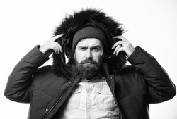 Winter stylish menswear. Man bearded stand warm jacket parka isolated on white background. Winter outfit. Hipster winter fashion. Guy wear black winter jacket with hood. Prepared for weather changes.