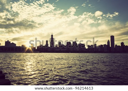 Winter sun setting over the skyline of Chicago, Illinois
