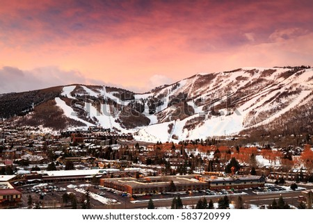 Winter sunrise above Park City Mountain, Utah, USA. #583720999