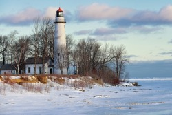 Winter Sunrise at Point Aux barques lighthouse - Port Hope, Mi  USA