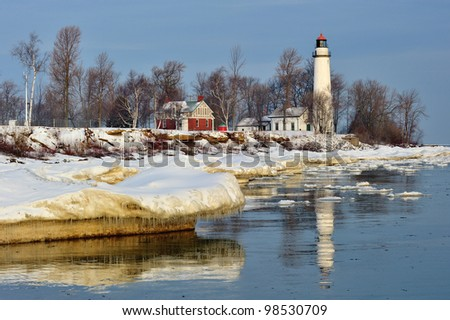 Winter sunrise at Point Aux Barques lighthouse, Port Hope Michigan, USA