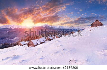 winter sunrise in the Carpathian mountains