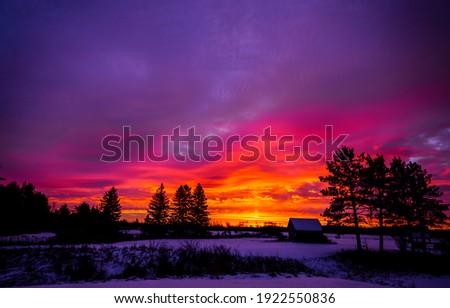 Winter sunrise snow outdoor landscape. Sunrise in winter. Winter sunrise outdoor. Winter sunrise scene