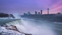 Winter sunset at Niagara Falls from New York.