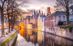 winter sunset in Bruges, Belgium