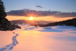 Winter sunset in the Jura Mountains - Western Switzerland