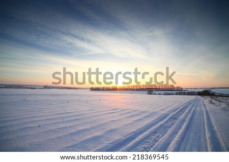 Winter sunset landscape panorama, very cold.  #218369545