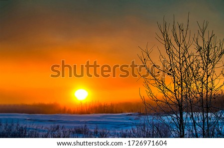 Winter sunset nature sky landscape. Sunset in winter. Winter nature sunset scene
