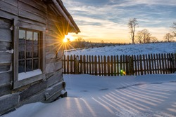 Winter sunset over the old Lige Gibbons Cabin in the Cumberland Gap National Park
