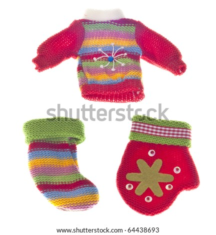 Winter Sweater, Stocking and Mitten Isolated on White with a Clipping Path.