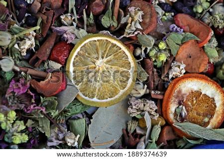 winter tea made of colorful herbs sold in herbalist's shop - Known name in Turkish: Kış Çayı   Stok fotoğraf ©