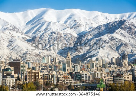 Winter Tehran  view with a snow covered Alborz Mountains on background Stock fotó ©