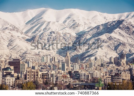 winter tehran  view with a snow ...