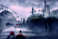 winter theme christmas lantern and landscape fantasy