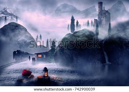 winter theme christmas lantern and landscape fantasy #742900039
