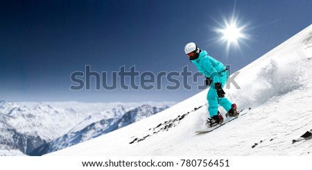 Winter time and skier. Mountains landscape  #780756451