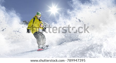 Winter time. Skier and mountains landscape  #789947395