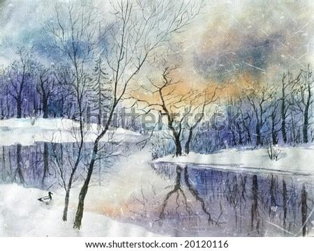 winter time watercolor landscape