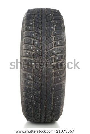 Winter tire on white background