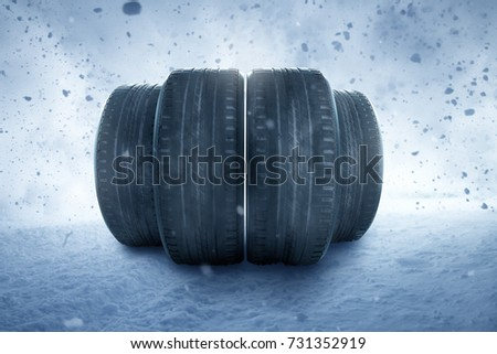 Winter tires in a snow storm #731352919