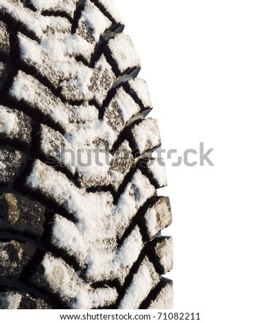 winter tires in snow, isolated on a white background