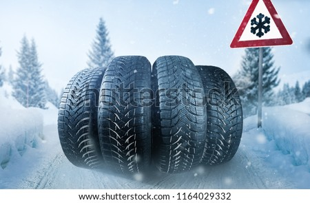 Winter tires on a snowy roadway