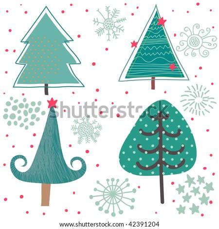 Winter Tree Cartoon Winter Tree Cute Cartoon Set