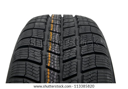 Winter tyre closeup on white background