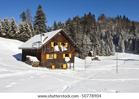 Winter vacation - Rural sunny winter landscape with occupied chalet.