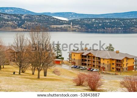 Winter view at Okanagan lake in Kelowna, British Columbia, Canada.