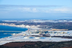 Winter view from the hill to the LNG plant, Sakhalin island, Russia