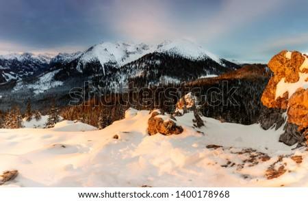 Winter view in Tatra Mountains from Goose's Neck Peak to Koszysta Peak.