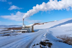 Winter view of Bjarnarflag Geothermal Power Station, near Krafla volcano, Iceland. This is one of the oldest in Iceland and has been operational for 40 years