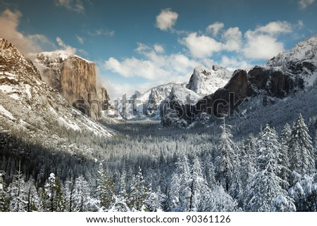 Winter View of  El Capitan, Bridal Veil Falls and Half Dome seen from the Tunnel view. Yosemite National Park