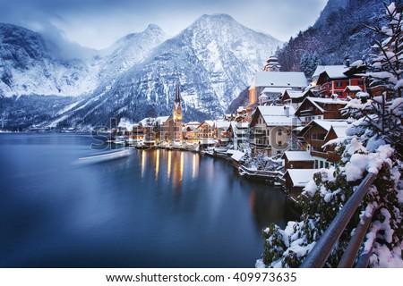 Winter View of Hallstatt, traditional austrian wood village, UNESCO world culture heritage site.