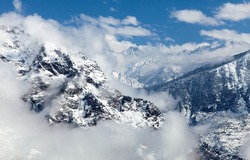 Winter view of Indian Himalaya near Joshimat town, Uttarakhand, India Himalayas mountains
