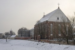 Winter view of St. George church in Kaunas old town. Lithuania