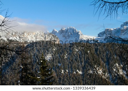 Winter view of the Cirspitzen in Gröden, Val Gardena, above Selva in the Dolomites. Looking from Pic to Sella, Cir and Stevia