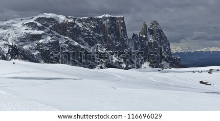 winter view of the Sciliar, Dolomites - Italy