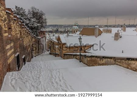 Winter view of Zamecke schody stairs in Prague, Czech Republic Zdjęcia stock ©