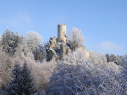 Winter view on ruins of castle Frydstejn in nothern Bohemia