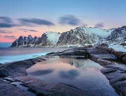 Winter view to Steinfjord on Senja island, Troms county (long exposure) - Norway