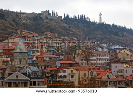 Winter view to Tbilisi Old town in misty day