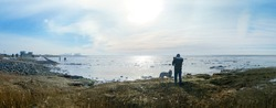 Winter walk on the North Sea coast, panoramic view