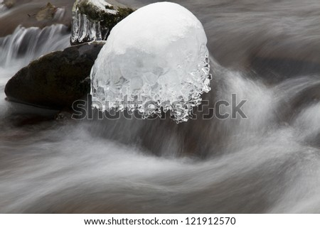 Winter waterfall with ice