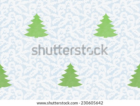 Winter / white lace on blue background fir-tree seamless texture / fir tree, Christmas tree