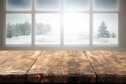 winter window and wooden table place